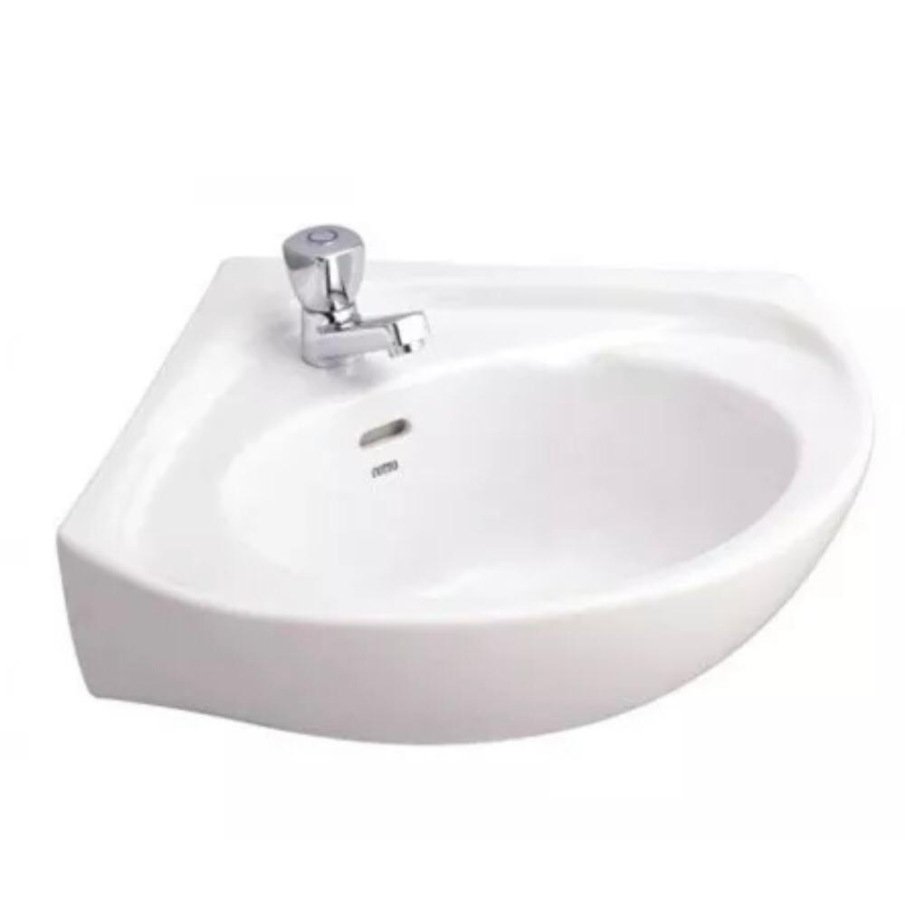 Quality Corner Cloakroom Basin Wall Hung Round Small 400x400